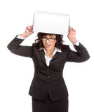 Portrait of mature woman with box, wearing glasses, looking at c Royalty Free Stock Images