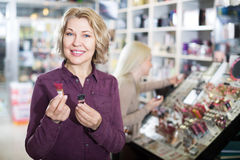 Portrait of mature woman doing shopping Stock Image