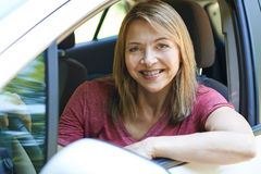 Portrait Of Mature Woman Driving Car Royalty Free Stock Photos