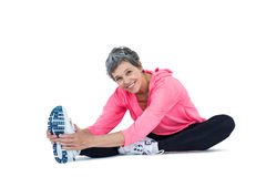 Portrait of mature woman exercising Stock Images