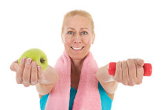 Portrait mature woman at fitness Stock Photos