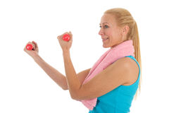 Portrait mature woman at fitness Stock Photography
