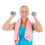 Portrait mature woman at fitness Royalty Free Stock Photo