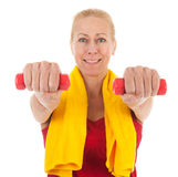 Portrait mature woman at fitness Royalty Free Stock Photography