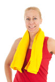 Portrait mature woman at fitness Stock Photo