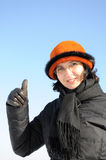 Portrait of mature woman giving thumb up Royalty Free Stock Image