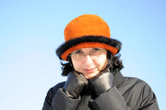Portrait of mature woman with gloves in winter Royalty Free Stock Images
