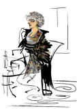 Portrait of a mature woman with gray hair. In a fancy dress, sitting at a restaurant table, rastrer drawing over a white background Stock Image