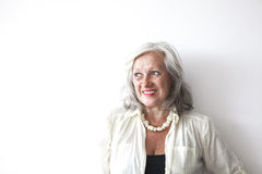 Portrait of mature woman with grey hair Stock Photos