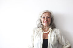 Portrait of mature woman with grey hair Royalty Free Stock Photos