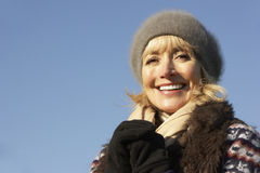 Portrait mature woman outdoors in winter Royalty Free Stock Photo
