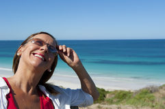 Portrait Mature Woman at Seaside Stock Image