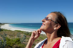 Portrait Mature Woman at Seaside Royalty Free Stock Photos