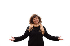 Portrait  of mature woman showing victory Stock Photo