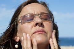 Portrait mature Woman at Sunshine Stock Images