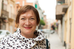Portrait of  mature woman at  town Royalty Free Stock Photography