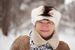 Portrait of mature woman in winter Stock Photo