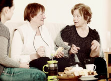 Portrait of mature and young women with tea Stock Images