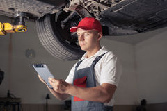 Portrait of a mechanic stock photos
