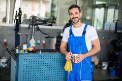 Portrait of a mechanic working Stock Images