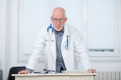 Portrait of medical doctor with stethoscope Stock Photos