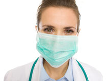 Portrait of medical doctor woman in mask Stock Image