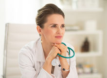 Portrait of medical doctor woman in office Stock Photos