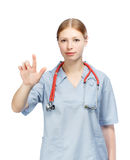 Portrait of medical doctor woman with stethoscope hand touching Stock Images