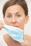 Portrait medical nurse woman with mask Royalty Free Stock Images