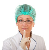 Portrait of the medical officer. Portrait of the medical worker on a white background stock image