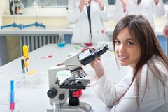 Portrait of medical students. In the laboratory Stock Photos
