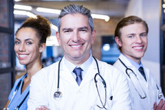 Portrait of medical team smiling at camera Stock Images