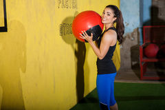Portrait with a medicine ball Royalty Free Stock Photos