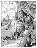 Medieval geographer, vintage engraving. Portrait of medieval geographer with globe and compass at great discovery times, vintage engraving stock illustration