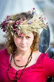 Medieval lady with wreath of flowers Royalty Free Stock Images