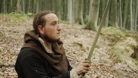 Portrait of Medieval Male Viking Warrior stock footage