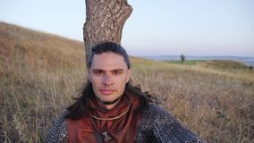 Portrait of Medieval Male Viking Warrior. Medieval Reenactment stock video footage
