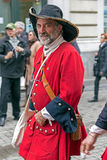 Portrait of a medieval soldier that marching on the street Stock Images