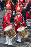 Portrait of medieval soldiers women drummers on the street Stock Images