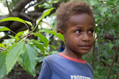 Portrait of a Melanesian kid. Stock Photos
