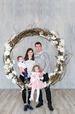 Portrait of members of the family in studio. Royalty Free Stock Photos