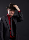 Portrait of men with hat in the darkness Royalty Free Stock Photography