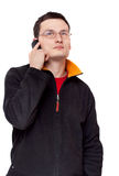 Portrait Men In Spectacles With Telephone Stock Photo