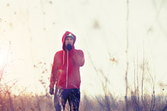 Portrait of men runner in the field with headlamp Royalty Free Stock Image