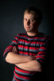 Portrait of men in striped sweater Stock Images