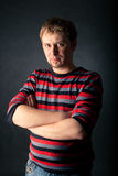Portrait of men in striped sweater Stock Photo