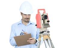 Portrait of men surveyor working with theodelite Stock Photography