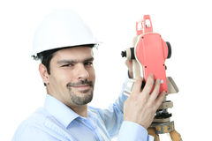 Portrait of men surveyor working with theodelite Stock Images