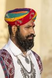 Portrait men wearing traditional Rajasthani dress participate in Mr. Desert contest as part of Desert Festival in Jaisalmer, Rajas Royalty Free Stock Photos
