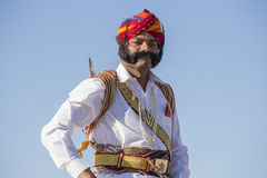 Portrait men wearing traditional Rajasthani dress participate in Mr. Desert contest as part of Desert Festival in Jaisalmer, Rajas Royalty Free Stock Photography